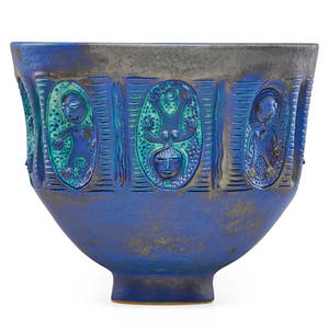 Edwin scheier 1910  2008 mary scheier 1908  2007 footed bowl with figural medallions vivid blue turquoise and gunmetal glaze green valley az 1997 signed and dated 10 14 x 12 proven