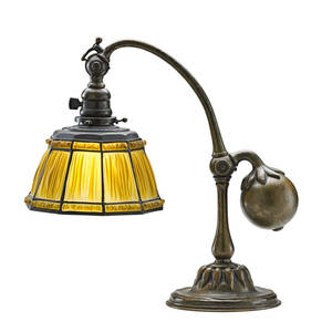 Tiffany studios counterbalance desk lamp linenfold shade new york 1920s acidetched patinated bronze frosted leaded glass single socket base stamped tiffany studios new york 415 shade with