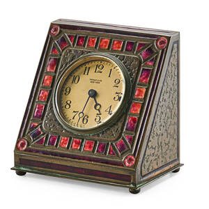Tiffany studios rare art deco desk clock new york 1900s enameled bronze glass base stamped louis c tiffany furnaces inc 360 clock face stamped tiffany  co new york 5 12 x 5 12 x 3 1