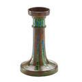 Tiffany studios fine mosaic candlestick new york 1900s patinated bronze slag glass stamped tiffany studios new york 100070 7 12 x 4 12