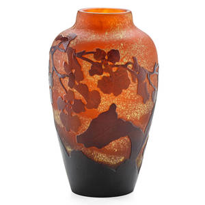Galle cameo glass vase with orchids nancy france 1900s signed galle on body 6 x 3 12