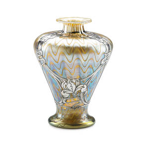Loetz fine phnomen vase with silver overlay of irises austria 1900s overlay stamped sterling silver deposit 8 x 6