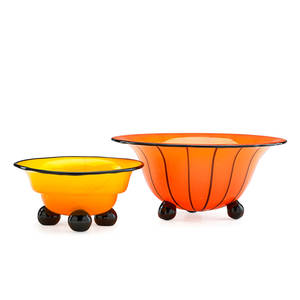 Michael powolny 1871  1954 loetz two tango glass footed bowls austria ca 1900 unmarked 4 x 8 12 3 x 6 14