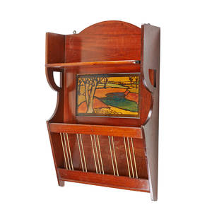 English arts  crafts hanging newspaper rack 1900s mahogany enamel brass unmarked 30 x 20 x 6 provenance copy of invoice from liberty  co 1980s