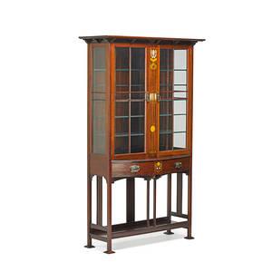 English art nouveau china cabinet ca 1900 mahogany fruitwood motherofpearl ceramic cabochons glass unmarked 68 12 x 42 x 15 12