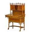 Rj horner fauxbamboo desk usa ca 1880 birds eye maple maple leather unmarked 53 x 32 x 23