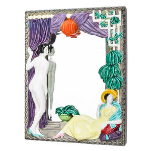 Keramos art deco mirror austria 1920s glazed earthenware mirror stamped keramos made in austria 2618 16 12 x 13