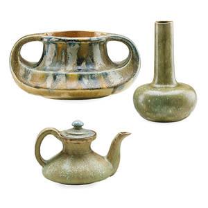 Alexandre bigot 1862  1927 charles greber 1853  1935 stoneware teapot bigot twohandled vase grber and gourd vase unknown artist fine crystalline glazes france ca 19001910s all