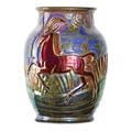 Richard joyce 1873  1931 pilkington royal lancastrian vase with antelopes england 1920s tudor rose stamproyal lancastrianenglandartist monogram 8 x 5 12
