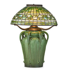 Grueby tiffany studios fine and rare kendrick vase with handles and tiffany studios acorn shade bostonnew york ca 1905 complete with electrified oil font glazed ceramic leaded slag glass two