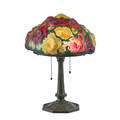 Pairpoint puffy rose bouquet shade on associated base new bedford ma 1910s painted and frosted glass patinated metal two sockets pat applied stamp to shade base unmarked shade 13 x 7 1