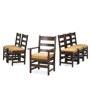 L  jg stickley dining chairs five side one arm fayetteville ny ca 1912 the work of decal arm 37 x 25 34 x 21 side 36 x 18 x 17