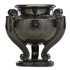 Fulper large urn with hammered finish mirror black vase flemington nj 191622 vertical raised mark 11 x 11 provenance collection of robert a ellison new york