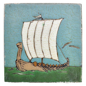 Grueby rare and large ship tile boston ma ca 1915 stamped grueby boston 2 x 12 sq note the only tiles like this we have ever seen provenance smith and jones auctions sudbury ma 2002