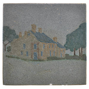 Marblehead fine tile depicting the flatiron house marblehead ma 1910s stamped ship mark mp 1 x 6 sq provenance private collection connecticut acquired from the collection of allen hende