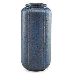 Grueby tall cylindrical vase indigo blue glaze boston ma ca 1905 circular pottery stamp incised ch 9 x 4 provenance private collection connecticut acquired from the collection of alle