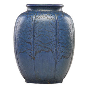 Grueby large ribbed vase blue glaze boston ma ca 1905 circular pottery stamp 10 34 x 7 12 provenance private collection connecticut acquired from the collection of allen hendershott