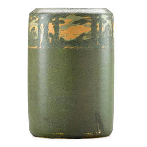 Walrath fine cylindrical scenic vase rochester ny ca 1910 signed walrath pottery 7 12 x 5 provenance private collection connecticut acquired from the collection of allen hendershott eato
