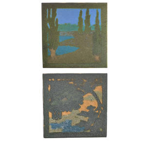 Walrath two scenic tiles rochester ny ca 1910 stamped bfat co beaver falls pa 4 sq provenance private collection connecticut acquired from the collection of allen hendershott eaton