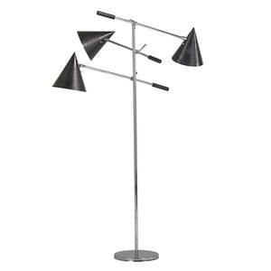 Lightolier threearm floor lamp usa 1960s chromed and enameled steel unmarked as shown 62 x 44 x 34
