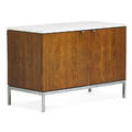 Florence knoll b 1917 knoll associates cabinet new york 1960s chromed steel bleached rosewood carrara marble decal label 25 12 x 37 12 x 18