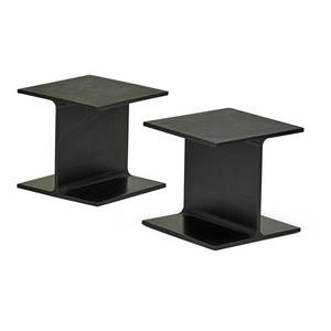 Ward bennett b 1917 brickel pair of ibeam side tables usa 1970s enameled steel unmarked 15 x 16 sq