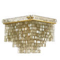American large tiered chandelier 1970s gilt metal brass capiz shell six sockets unmarked 29 x 32 sq