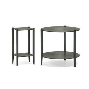 Tuell and reynolds hakone small side table and shinjuko occasional table cloverdale ca 2000s patinated bronze shinjuko signed 20 12 x 10 12 x 9 34 20 12 x 22 12 dia