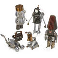 Folk art group of robots most articulating usa ca 1970 found objects unmarked tallest 17 x 6