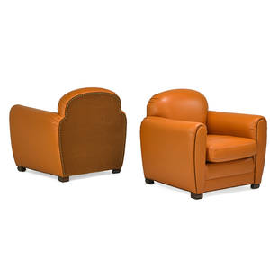French art deco pair of lounge chairs 1920s stained wood leather upholstery brass studs unmarked 31 x 34 x 32