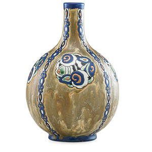 Charles catteau 1880  1966 boch freres keramis glazed stoneware vase with stylized floral decoration belgium 1920s ink stamp gres keramis d882 ch catteau stamped 886 10 x 6