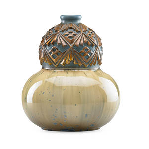 Mougin glazed stoneware gourd vase with relief decoration crystalline glaze france 1920s stamped mougin nancy 316j l incised 14 11 x 9