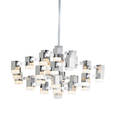 Gaetano sciolari lightolier large cubic chandelier italy 1970s polished and brushed metal frosted acrylic thirtyseven sockets manufacturer label body 21quot x 36quot sq to canopy 74