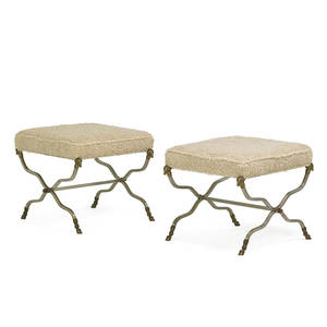 Italian pair of benches 1970s mattechromed steel brass wool unmarked 20 x 22 x 22