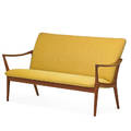 Rolf rastad 1916  1995 adolf relling 1913  2006 bambi settee norway 1950s sculpted teak upholstery unmarked 31 12 x 59 12 x 31