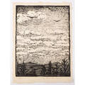 Wharton esherick 1887  1970 woodblock print on rice paper clouds paoli pa ca 1923 pencil signed titled and numbered 2340 sheet 12 x 9