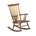 Michael elkan 1942  2014 rocking chair silverton or 1983 figured walnut hickory signed and dated 39 34 x 25 34 x 32 12