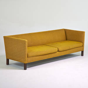 Edward wormley dunbar sofa berne in 1950s upholstery mahogany embroidered decking 27 x 84 x 32