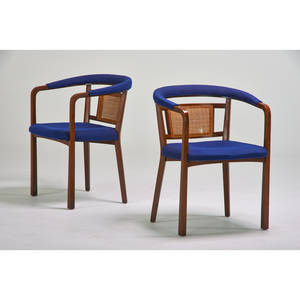 Edward wormley dunbar pair of armchairs berne in 1960s walnut cane upholstery unmarked 31 x 24 x 23