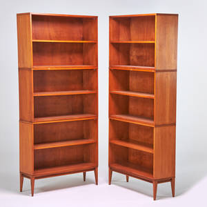 Paul mccobb winchendon co pair of planner group birch bookcases winchendon ma 1950s foil labels as shown 82 x 36 x 12 base 24 x 36 x 12