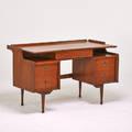Style of paul mccobb desk usa 1960s walnut enameled metal aluminum branded hooker 31 x 50 x 26