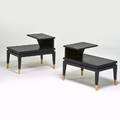 Lane pair of tiered side tables alta vista va 1960s ebonized wood brass branded 24 x 29 12 x 19 12