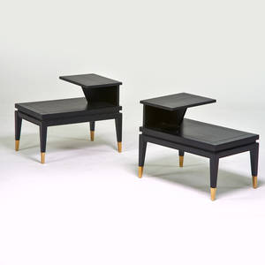 Lane pair of tiered side tables alta vista va 1960s ebonized wood brass branded 24 x 29 12 x 19 12
