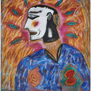 Papo colo puerto rican 20th c two pastels on brown paper out of my head 1981 dated praying nun 19821983 signed both framed largest 23 12 x 22 12 sheet