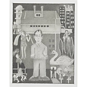 Marc baseman american 20th c untitled pencil on paper 1999 framed signed and dated 2 78 x 2 38 sheet