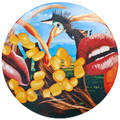 Jeff koons american b 1955 screenprint on porcelain in original box lips 2012 signed in plate by artist and numbered 4302500 on verso coa signed by manufacturer bernardaud limoges franc