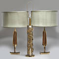 Laurel lamp co three table lamps brushed steel and brass columnar and pair of enamel and brass faceted with silk shades newark nj 1960s two with manufacturers label tallest 37 34 x 8 dia