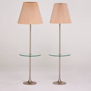 Laurel lamp co pair of lamp tables usa 1960s matte chromed steel glass paper shades labels to sockets 60 x 16 dia