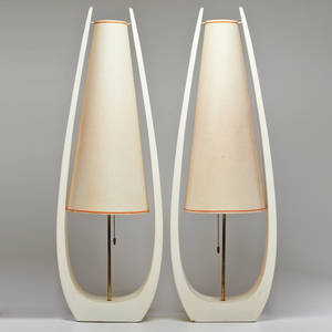 Style of laurel lamp co pair elongated table lamps usa ca 1960s lacquered wood brassplated metal unmarked 41 x 14 x 10 12