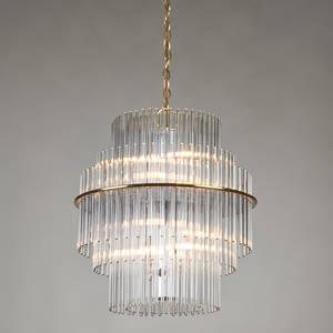 Gaetano scolari lightolier tiered glass rod chandelier polished brass italy 20th c unmarked 22 x 20 dia